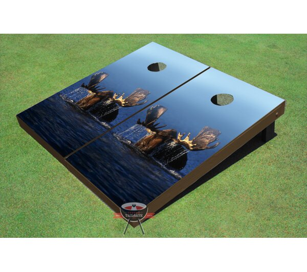 Moose in Lake Cornhole Board (Set of 2) by All American Tailgate