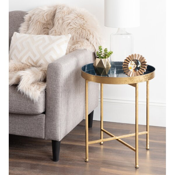 Kriebel Round Metal Foldable Tray Table by Bungalow Rose