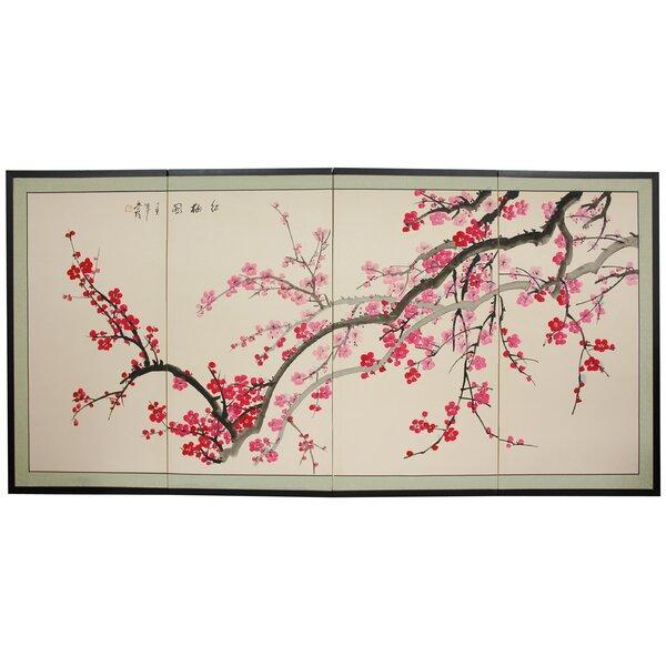 Clarette Plum Blossom 4 Panel Room Divider by World Menagerie
