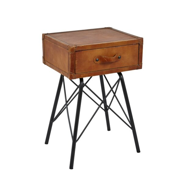 Alpharetta Wood and Leather End Table with Storage by 17 Stories