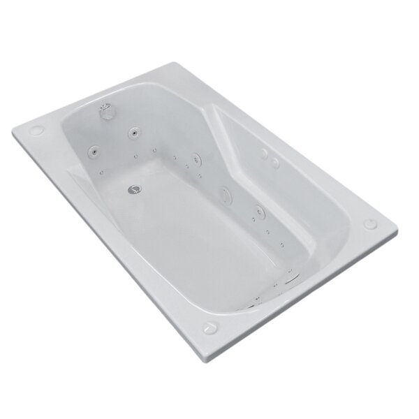 Anguilla 58.5 x 35.5 Rectangular Air & Whirlpool Jetted Bathtub with Drain by Spa Escapes