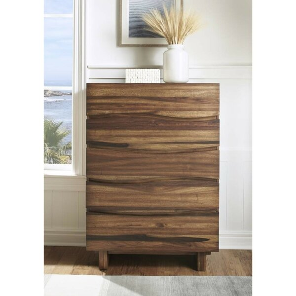 Boyland Wave Front Wooden 5 Drawers Chest by Foundry Select