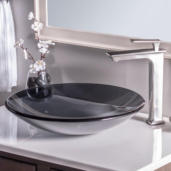 Low Profile Glass Circular Vessel Bathroom Sink by Novatto