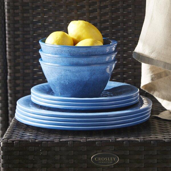 Seth Glaze Melamine 12 Piece Dinnerware Set, Service for 4 by Mint Pantry