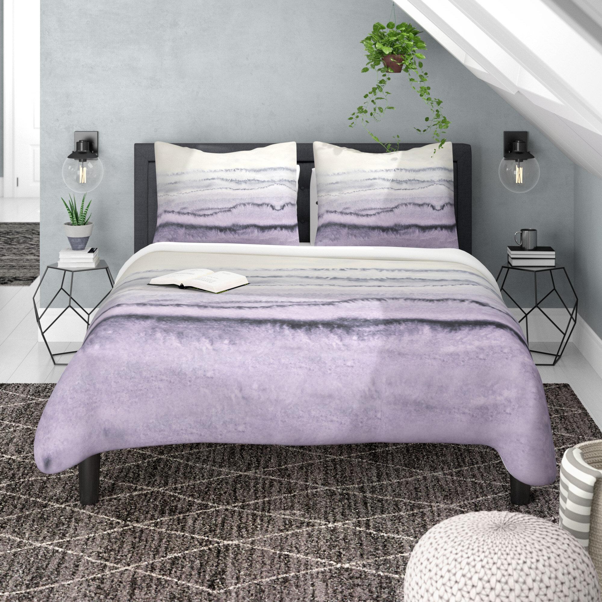 Abstract Geometric Texture Stripe Pale Grey Cotton Rich Duvet Cover Bedding Set