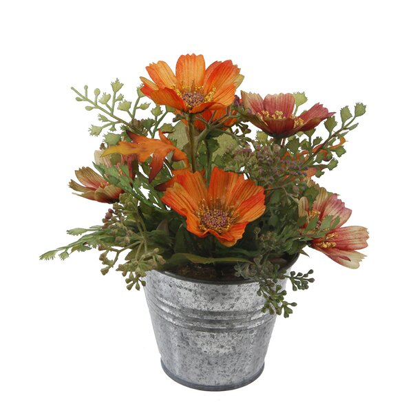 8 Tall Wild Flowers Mixed Floral Arrangement in Tin Pot by August Grove