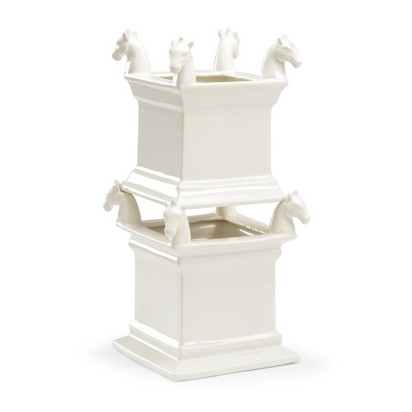 Horse 2-Piece Porcelain Planter Box Set by Chelsea House