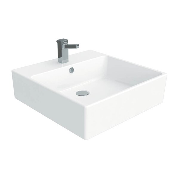 Simple Ceramic Ceramic Square Vessel Bathroom Sink with Overflow by WS Bath Collections