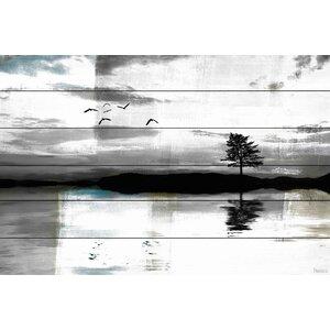 'Lone Lake Tree' by Parvez Taj Painting Print on White Wood by Parvez Taj