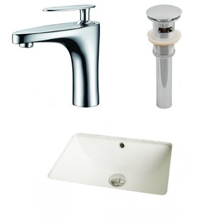 Find Ceramic Rectangular Undermount Bathroom Sink with Faucet and Overflow By American Imaginations