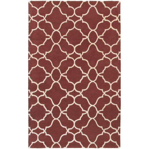 Optic Geometric Rust & Ivory Area Rug by Pantone Universe