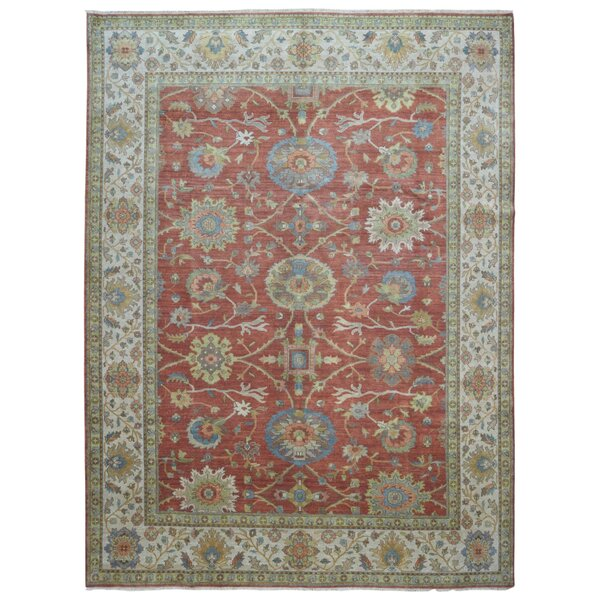 One-of-a-Kind Losada Mahal Oriental Hand-Woven Wool Red/Green Area Rug by Astoria Grand
