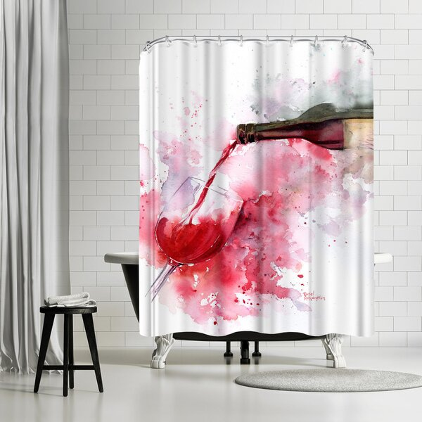 Rachel McNaughton Red Wine Pour Shower Curtain by East Urban Home