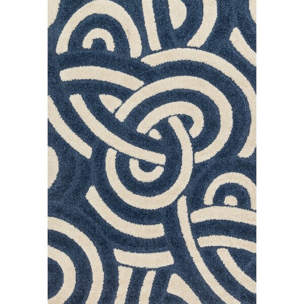 Dania Navy/Ivory Area Rug by Wrought Studio