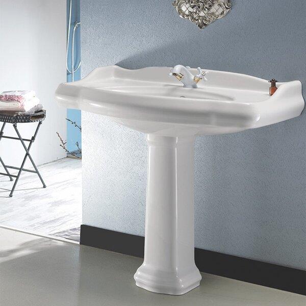 1837 Ceramic 35 Pedestal Bathroom Sink with Overflow by CeraStyle by Nameeks