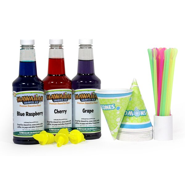 Shaved Ice and Snow Cone Syrups, 3-Flavor Fun Pack by Hawaiian Shaved Ice