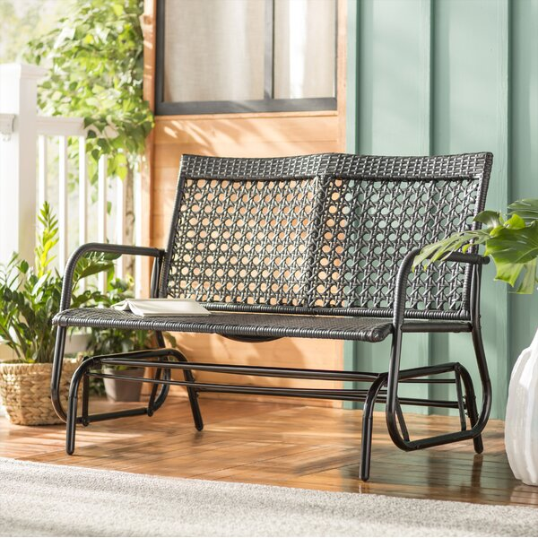 Shupe Steel Rattan Outdoor Patio Double Glider Bench by Wrought Studio