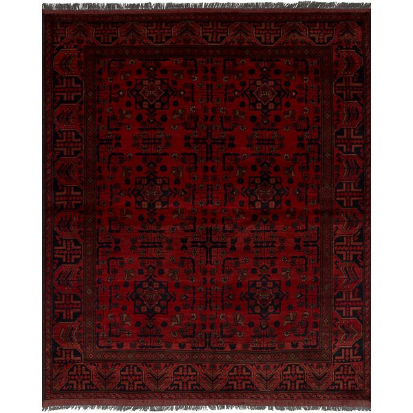 One-of-a-Kind Ada Hand-Knotted Wool Red/Black Area Rug by Isabelline