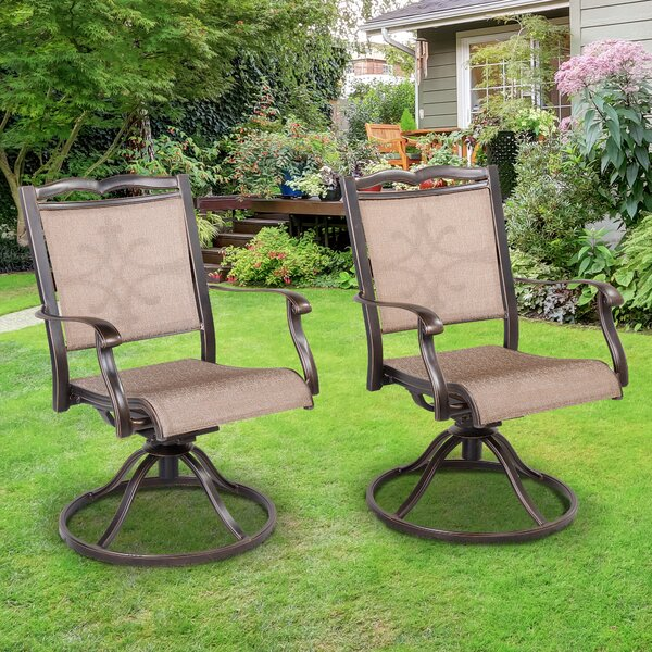 Michal Swivel Patio Dining Chair (Set Of 2) By Fleur De Lis Living by Fleur De Lis Living Discount