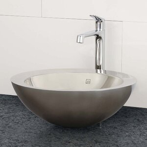 Simin Simply Stainless Double Walled Circular Vessel Bathroom Sink with Overflow
