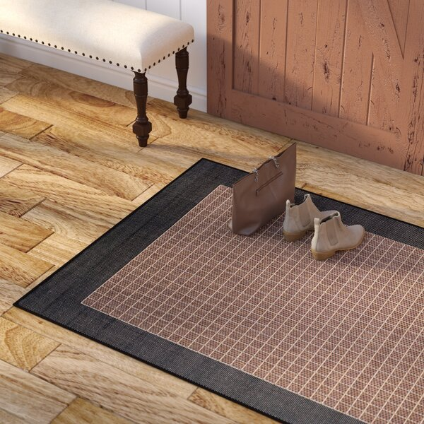 Halsey Checkered Field Cocoa/Black Indoor/Outdoor Area Rug by Alcott Hill