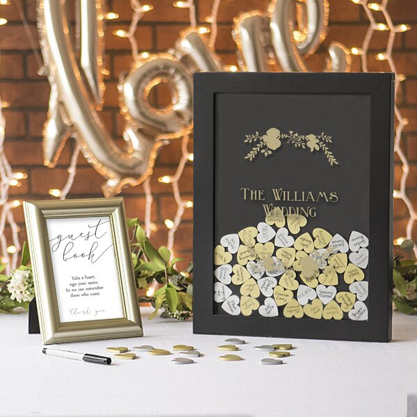 Gold Heart Drop Guest Book by Cathys Concepts