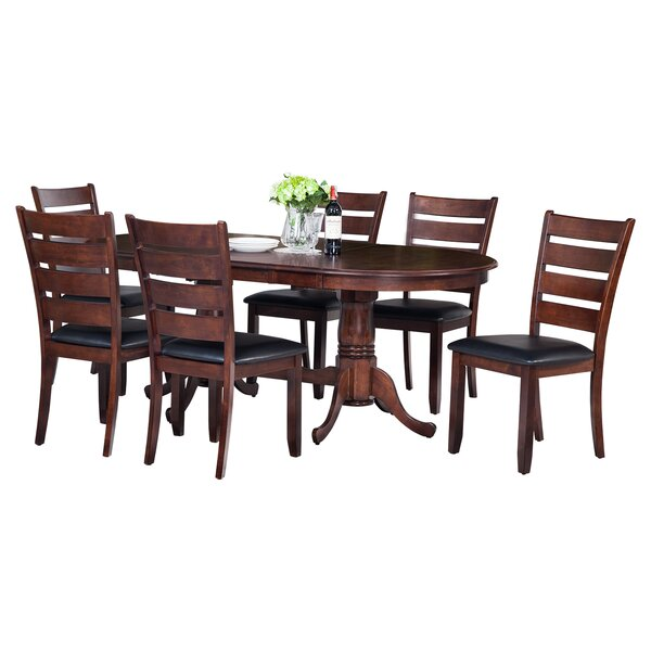 Doretha 7 Piece Solid Wood Dining Set with Curved Back Chair by Darby Home Co