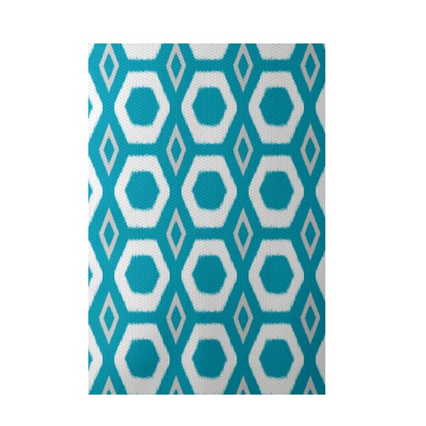 More Hugs and Kisses Geometric Print Caribbean Indoor/Outdoor Area Rug by e by design