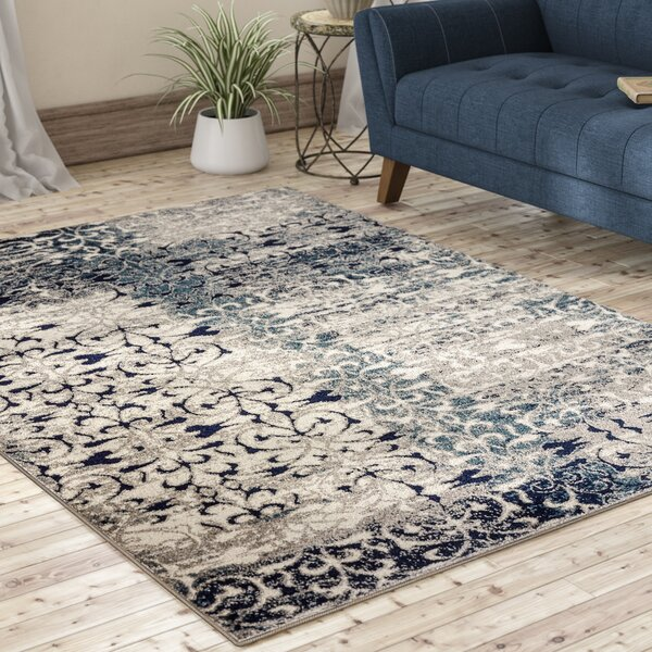 Peabody Beige/Navy Area Rug by Bungalow Rose