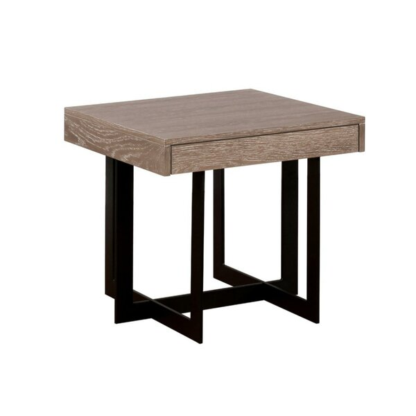 Gunnar Industrial Solid Wood End Table by 17 Stories