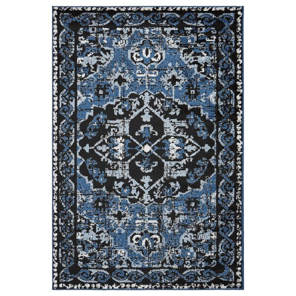 Apsel Black/Spa Blue Area Rug by Bloomsbury Market