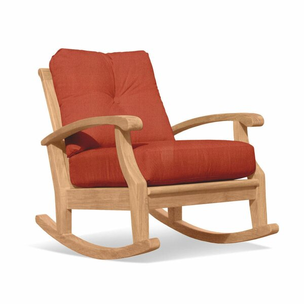 Lowery Deep Seating Teak Rocking Chair with Cushion by Rosecliff Heights