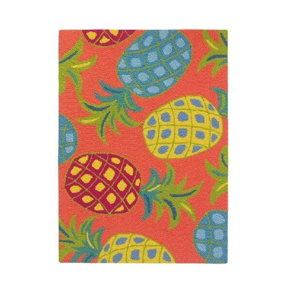 Pineapples Coral Orange/Green Indoor/Outdoor Area Rug by CompanyC