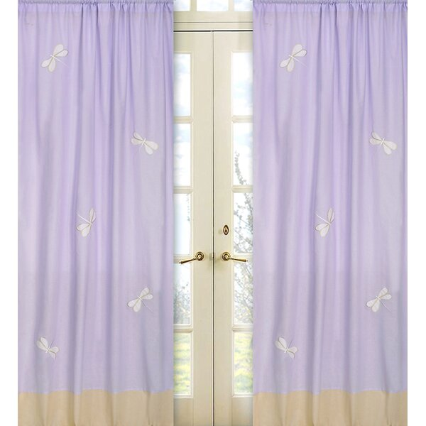 Dragonfly Dreams Wildlife Semi-Sheer Rod Pocket Single Curtain Panel (Set of 2) by Sweet Jojo Designs