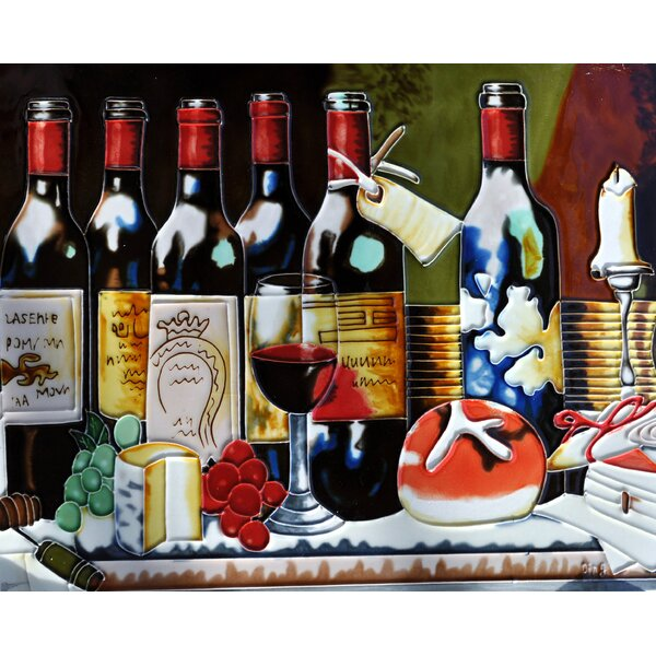 6 Wine Bottles Tile Wall Decor by Continental Art Center
