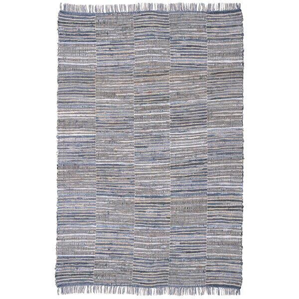 Synthia Hand Woven Cotton Blue/Natural Hemp Area Rug by Laurel Foundry Modern Farmhouse