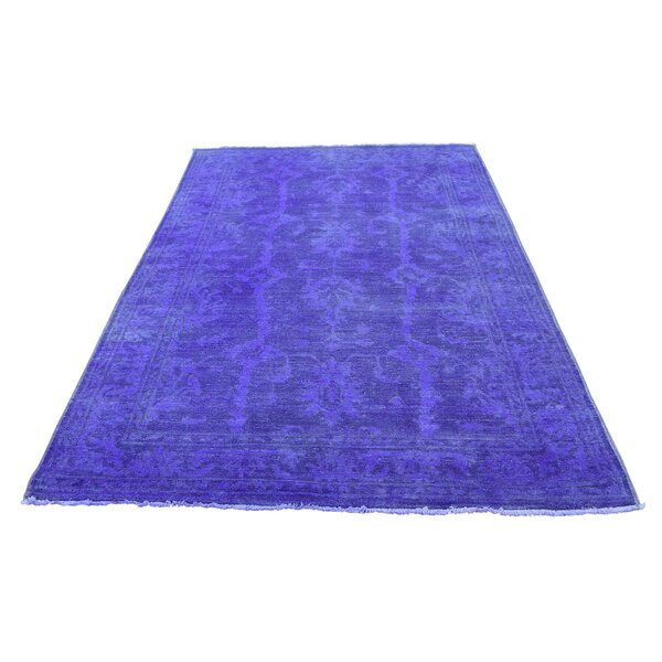 One-of-a-Kind Keeso Cast Overdyed Hand-Knotted Blue Area Rug by Bungalow Rose