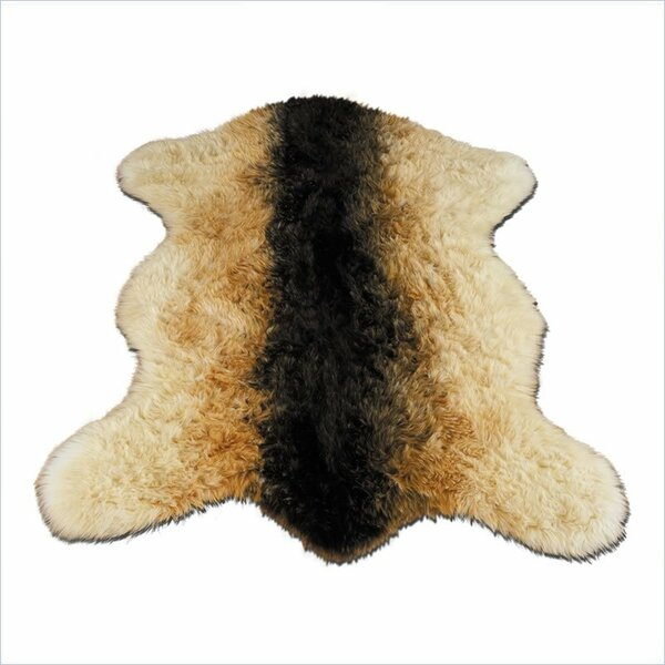 Animal Faux Sheepskin Beige/Black Area Rug by Walk On Me