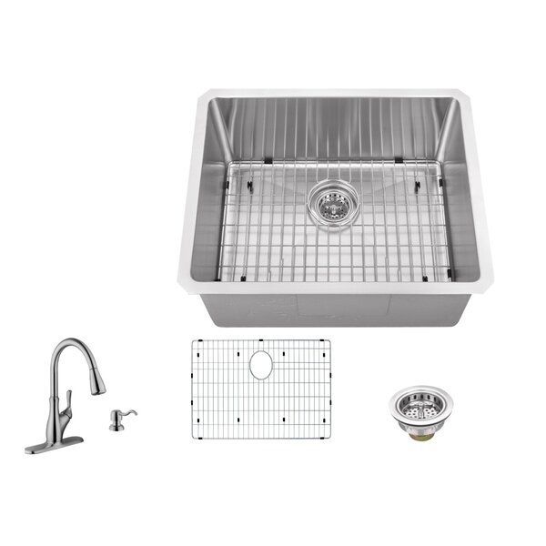 Radius 16 Gauge Stainless Steel 23'' x 19'' Single Bowl Undermount Bar Sink with Faucet and Soap Dispenser by Soleil