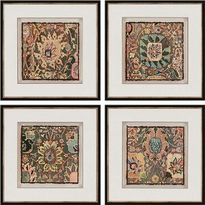 'Persian Carpet' 4 Piece Framed Graphic Art Set by World Menagerie