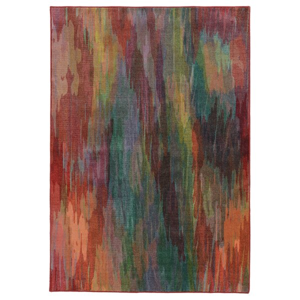 Prismatic Abstract Red Area Rug by Pantone Universe