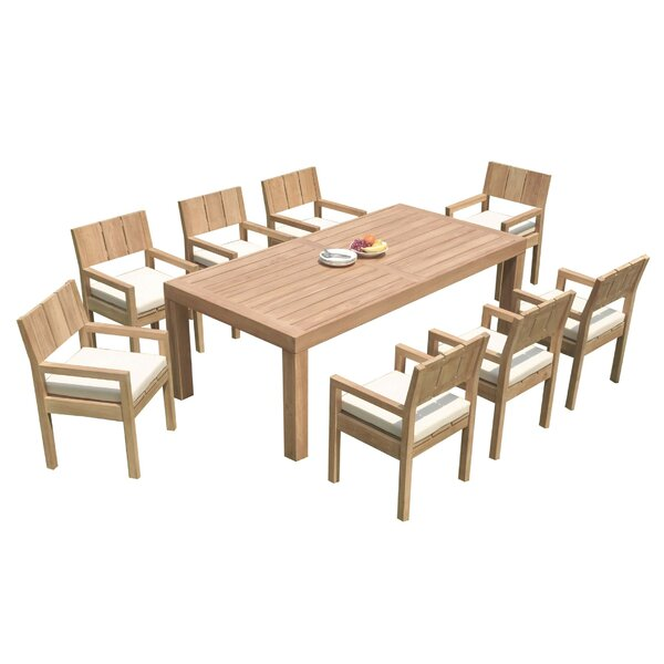 Mabrey 9 Piece Teak Dining Set by Rosecliff Heights