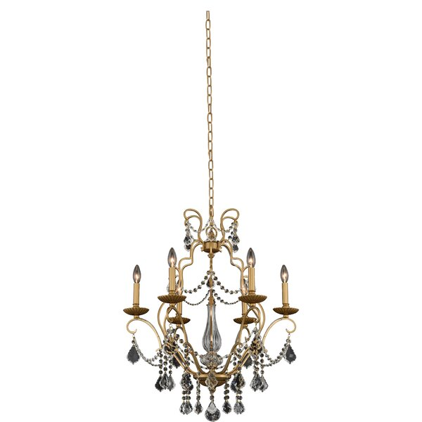 Adette 6 - Light Candle Style Classic Chandelier with Crystal Accents by Rosdorf Park Rosdorf Park