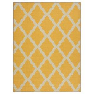 Staunton Machine Woven Yellow Area Rug