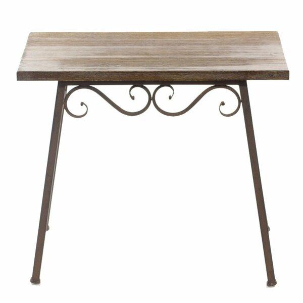 Gossett Wood and Metal End Table by Fleur De Lis Living