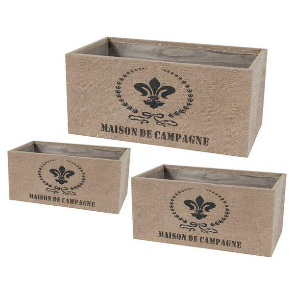 3-Piece Tin Planter Box Set by A&B Home