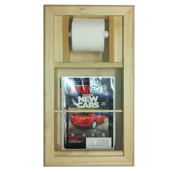 Recessed Magazine Rack and Toilet Paper Holder Combo by WG Wood Products