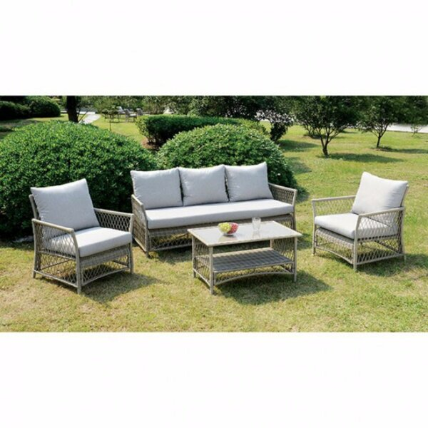 Finklea Patio 4 Piece Sofa Seating Group with Cushion by Bungalow Rose