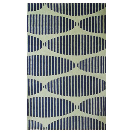 Wolcott Hand-Hooked Navy/Green Area Rug by Threadbind