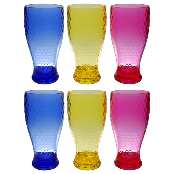 Fulks Colorful Beehive 6 Piece 21 oz. Plastic/Acrylic Every Day Glass Set by Ivy Bronx
